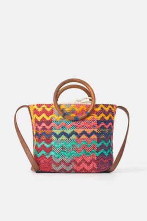 Zara Bolso shopper multicolor asas madera