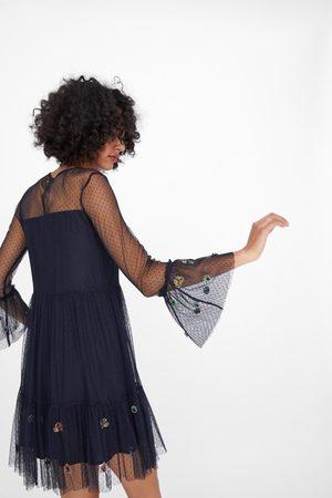 Zara Vestido tul bordado