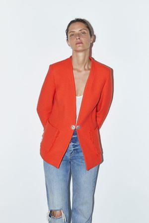 Zara Mujer Sacos - Blazer botón joya
