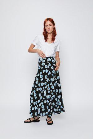 Zara Mujer Midi - Falda midi flores