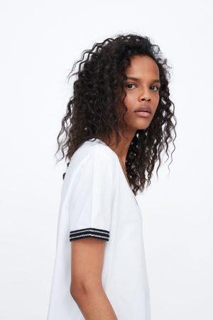 Zara Camiseta manga combinada