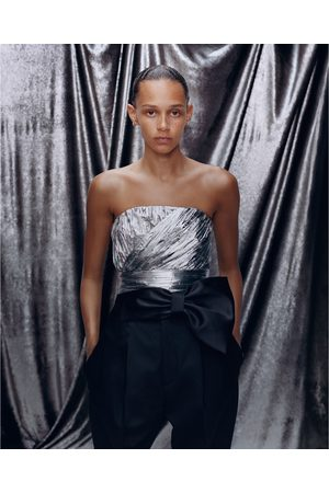 Zara Mujer Tops - Top cropped plisado