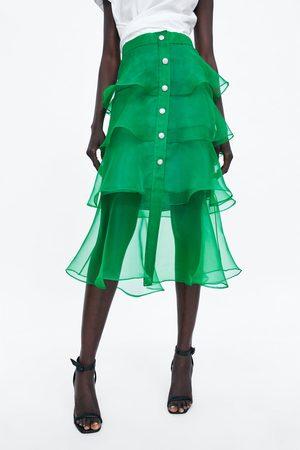 Zara Mujer Faldas - Falda organza botón joya