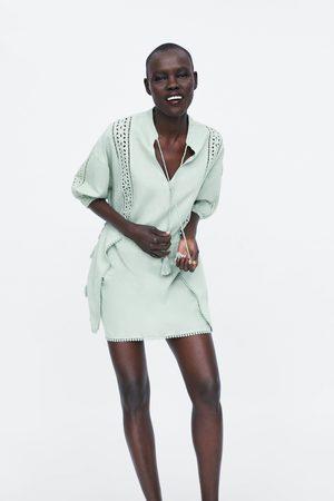Zara Mujer Vestidos - Vestido entredoses cordones
