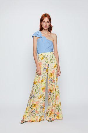 Zara Mujer Anchos y de harem - Pantalón ancho estampado floral