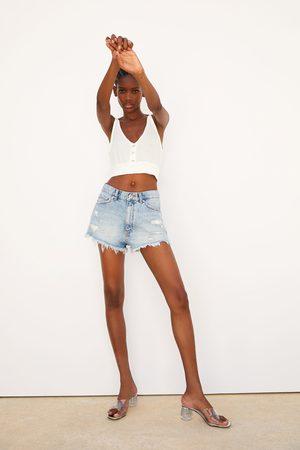 Zara Shorts denim hi rise rotos