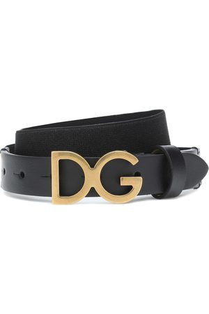 Dolce & Gabbana Niña Cinturones - Logo leather-trimmed belt