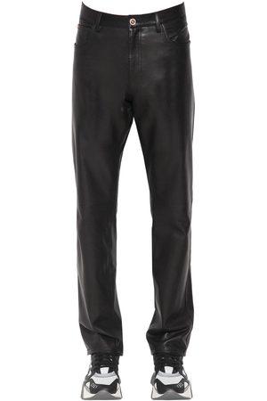 VERSACE Pantalones Slim Fit De Piel 17cm