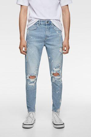Zara Jeans skinny rotos salpicaduras