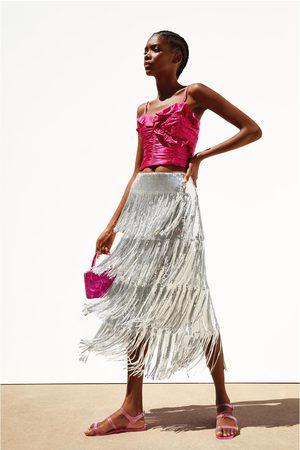 Zara Falda lentejuelas flecos edición limitada