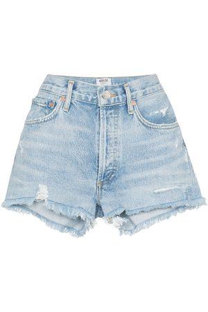 AGOLDE Mujer De mezclilla - Distressed denim shorts