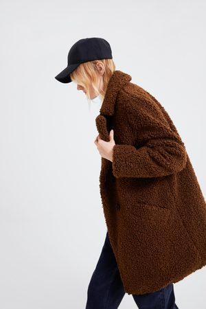 Zara Mujer Abrigos - Abrigo efecto pelo