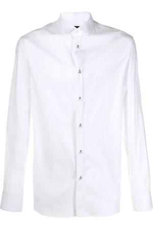 Philipp Plein Camisa con botones en forma de calavera y huesos cruzados