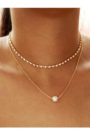 Zaful Alloy Faux Pearl Rhinestone Double Layered Necklace