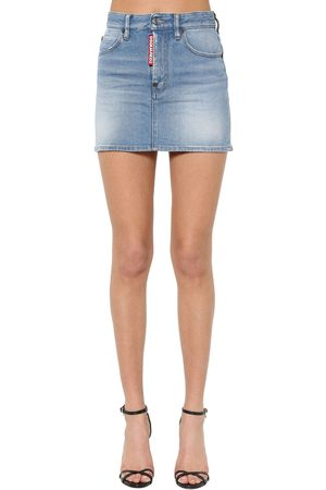 Dsquared2 Super Fade Wash Cotton Denim Mini Skirt