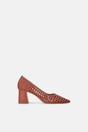 Zara Zapato tacón ancho trenzado