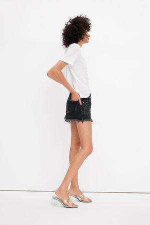 Zara Shorts denim mid rise rotos
