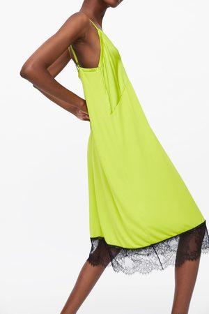 Zara Mujer Vestidos - Vestido lencero blonda