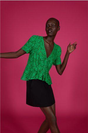 Zara Mujer Camisas - Cuerpo encaje botón joya