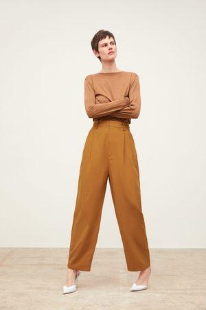 Zara Mujer Anchos y de harem - Pantalón ancho pinzas