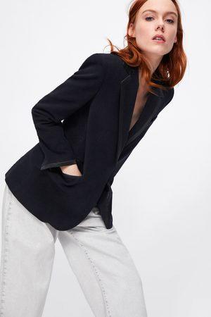 Zara Mujer Sacos - Blazer terciopelo combinada