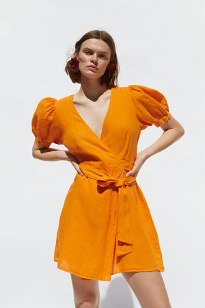 Zara Mujer Vestidos - Vestido lino cruzado