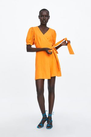 Zara Vestido lino cruzado