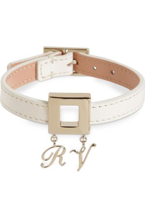 Roger Vivier Leather Bracelet W/metal Charm Buckle