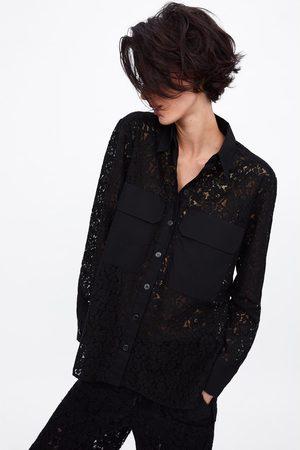 Zara Camisa combinada bolsillos