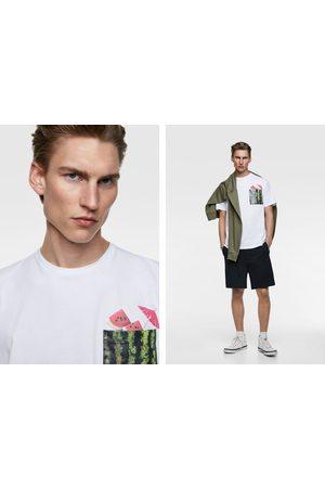 Zara Camiseta bolsillo combinado detalle