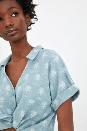 Zara Camisa rústica cropped