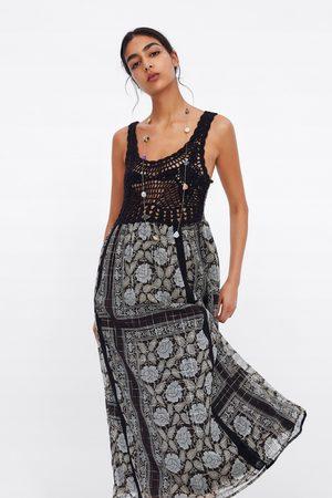 Zara Mujer Estampados - Vestido estampado hilo metalizado