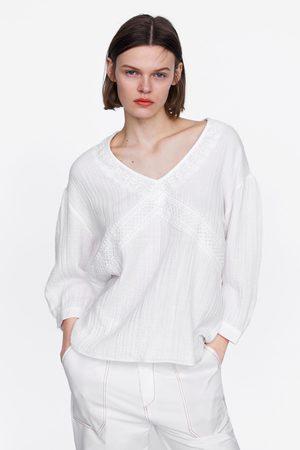 Zara Blusa algodón encaje