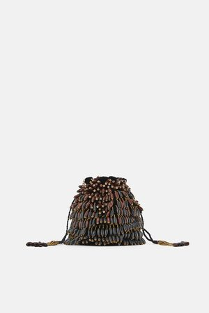 Zara Mujer Bolsas - Bolso saco abalorios madera