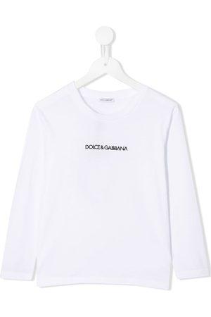 Dolce & Gabbana Top manga larga con logo estampado