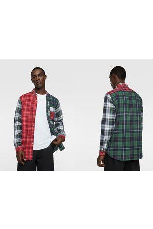 Zara Hombre Camisas - Camisa franela cuadros combinados