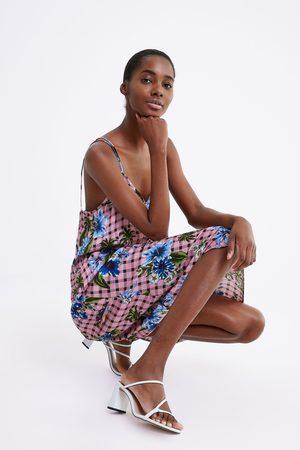 Zara Mujer Estampados - Vestido cuadros estampado floral