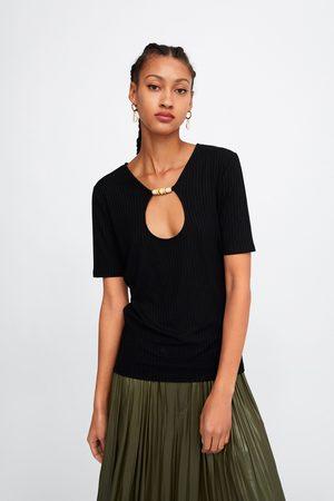 Zara Camiseta abalorios