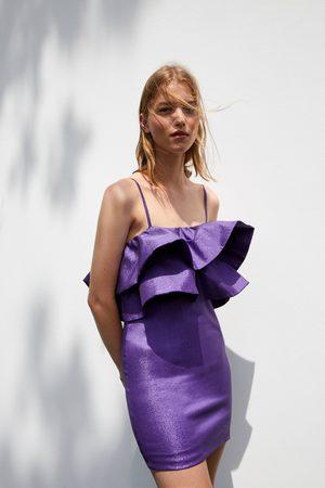 Zara Mujer Vestidos - Vestido volantes hilo metalizado