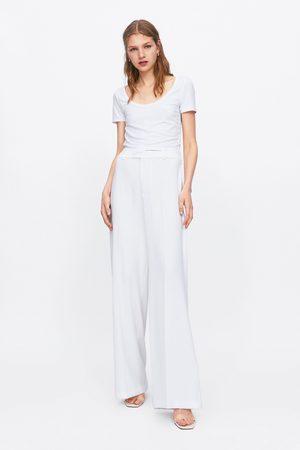 Zara Mujer Playeras - Camiseta rib cropped