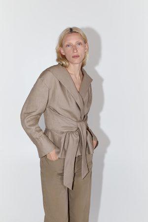 Zara Blusa lino cinturón