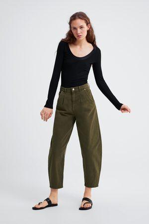 Zara Mujer Playeras - Camiseta cuello combinado