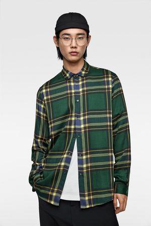Zara Hombre Camisas - Camisa fluida cuadros