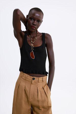 Zara Mujer Playeras - Camiseta cropped volante