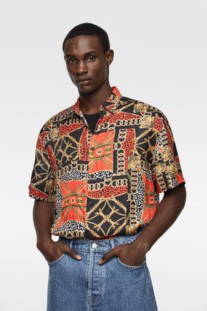 Zara Hombre Collares - Camisa satinada estampación cadenas