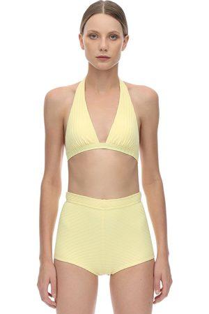 Peony Banana Halter Neck Ribbed Bikini Top