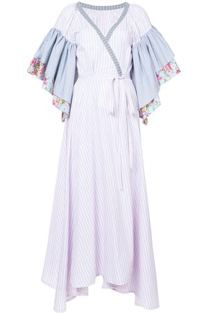 Natasha Zinko Mujer Cóctel - Vestido a rayas cruzado de manga floral con volantes
