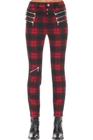 UNRAVEL Pantalones Skinny A Cuadros Con Cremallera