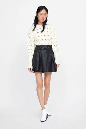 Zara Mujer Minifaldas - Falda mini efecto piel cinturón