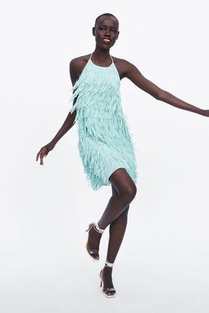 Zara Vestido corto flecos